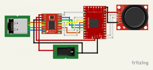 Basic connection between Moteino and the SparkFun TB6612FNG breakout, controlled by a potentiometer joystick.